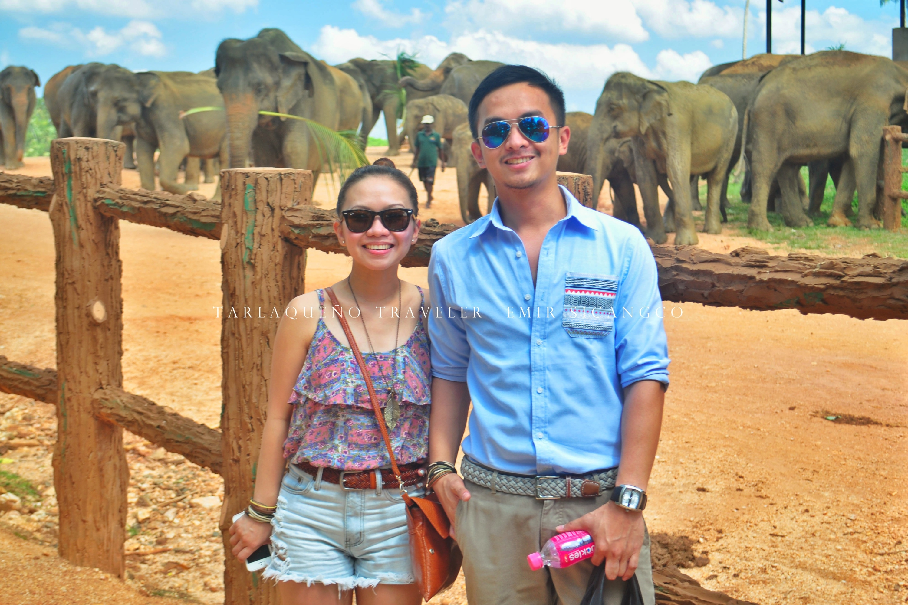 The author and his sister at Pinnawala Elephant Orphanage