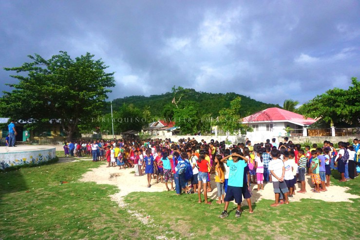 Pupils during their flag ceremony